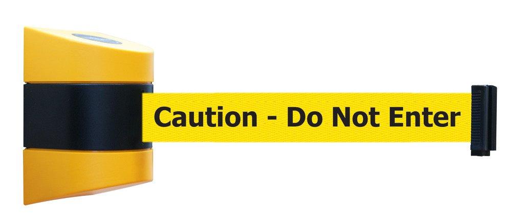 Tensabarrier 897-24-S-35-NO-YAX-C Standard Wall Mount, Yellow Caps, No Custom Yellow Webbing/Black''Caution - Do Not Enter'' Standard Belt End, 24'