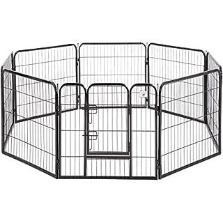 "BestPet Pet Playpen Dog Kennel 8 Panel Indoor Outdoor Folding Metal Portable Puppy Exercise Pen Dog Fence,24"",32"",40"" (40"", Black)"