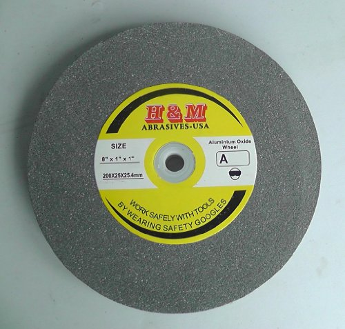 "8"" x 1"" BENCH GRINDING WHEEL 60 grit Vitrified 1"" Arbor includes 3/4"" 5/8"" 1/2"" Bushing"