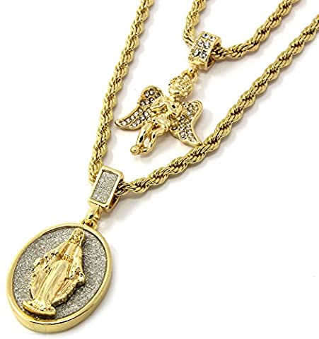 Mens Gold Two Piece Iced Angel & Virgin Mary Set Pendant Hip Hop 24