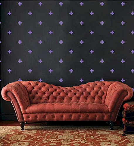 - Swiss Cross Pattern Wall Decals - Plus Sign Design Vinyl Bedroom Decor Sticker - DIY Home Decor [Set of 66] (Lavender, 3x3 inches)
