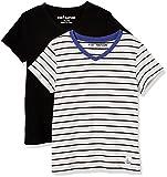 Kid Nation Kids' 2-Pack Short-Sleeve V-Neck Cotton Jersey Tee for Boys or Girls Small Black + White/Black Stripe