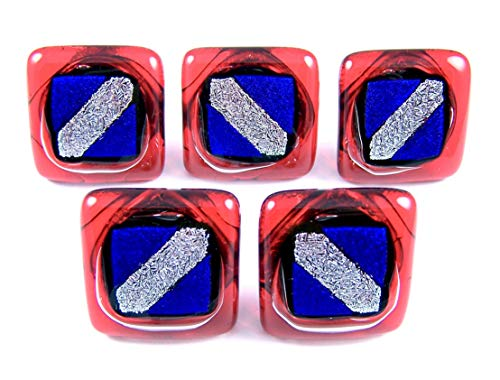 (Custom Made Abstract Nautical Patriotic Dichroic Glass Knobs - Cabinet or Drawer Pull Handle - 1