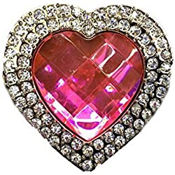 Click Down Folding Foldable Bling Rhinestone Heart Shaped Handbag Purse Hook Hanger Hanging Hooks Pink