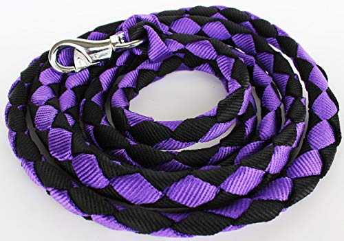 - PRORIDER 10' ft Horse Halter Lead Rope Heavy Duty 3/4 Dia Panic Snap Purple Black 60528
