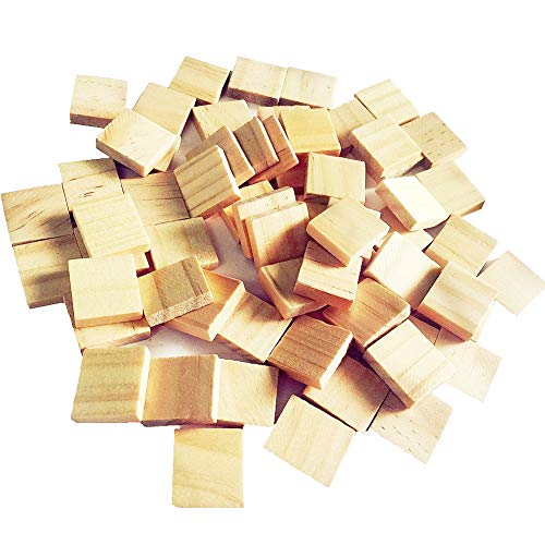 Abbaoww 100Pcs Wood Blank Scrabble Tiles for Craft, Decoration, Altered Art and Laser Engraving Carving