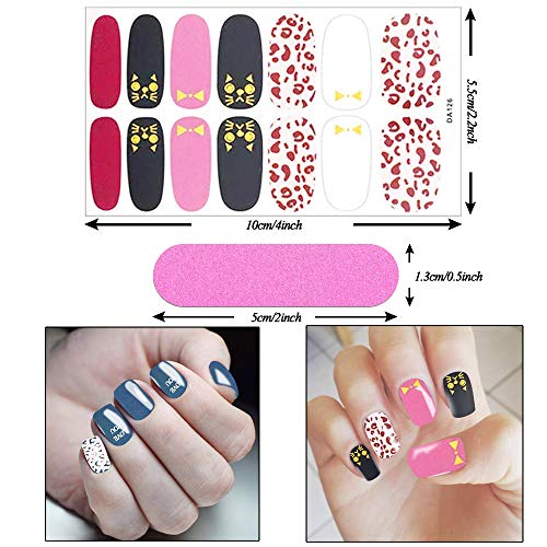 280 Pieces Nail Polish Sticker Full Wrap Nail Art Sticker,Self-Adhesive Nail Art Decal Strip,Colorful Manicure Kits Nail Decals with Nail File for Women Girls Kids DIY(20 Sheets )