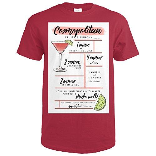 Cosmopolitan - Cocktail Recipe (Cardinal Red T-Shirt Small)