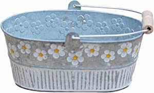 Yardwe Exquisite Flower Pot Vintage Daisy Embossed Garden Metal Tin Bucket Planter Pots with Handle Retro Home Decoration Wedding Window 1 Pack(Oval)