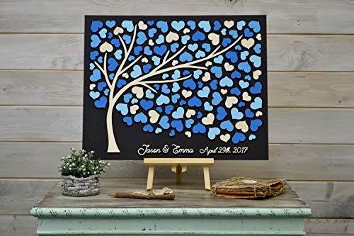 Custom Colors 3D Wedding Guest Book Alternative Tree Rustic Wedding Wood Hearts Guest Book Blue Guestbook Wooden Tree of Life Wedding -