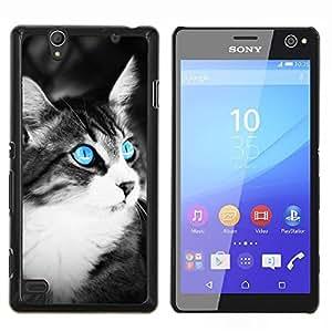 Gato azul- Metal de aluminio y de plástico duro Caja del teléfono - Negro - Sony Xperia C4 E5303 E5306 E5353