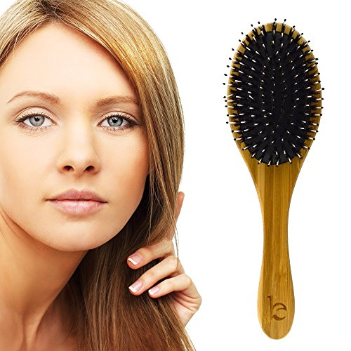 Boar Bristle Hair Brush Natural Wooden Bamboo Handle Best For Styling Straightening Detangling Or To Set Thick Thin Fine Straight Curly Wavy Long Short Dry Or Damaged Hair On Men Or Women
