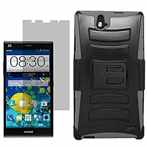 EagleCell Inc. Shield Case Holster for Cricket ZTE Grand X Max Z787 + Fitted Screen Protector-Grey