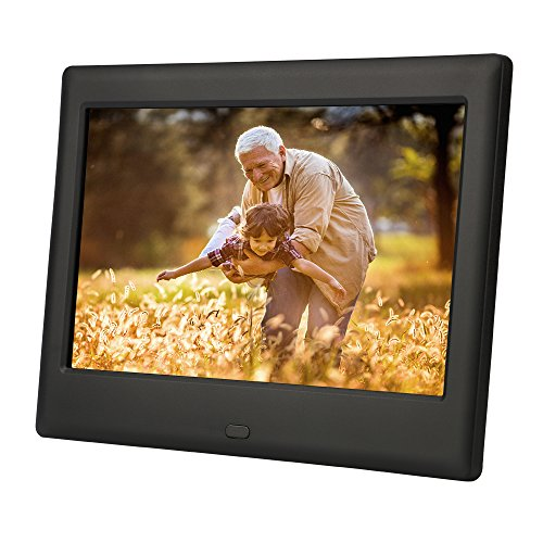 DBPOWER HD Digital Photo Frame IPS LCD Screen with Auto-Rotate/Calendar/Clock Function & Remote Control, Black (8 inch)