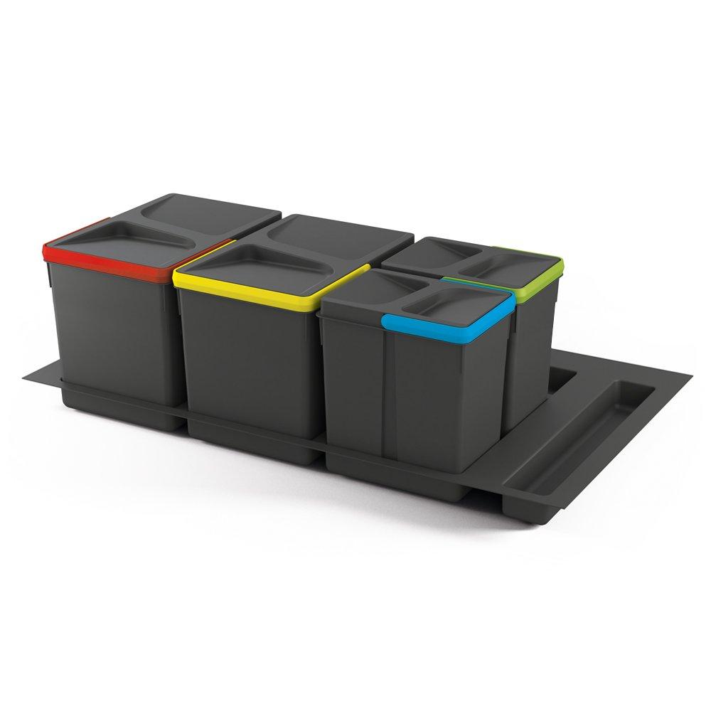 Emuca 8936023 Contenedores para cajón con base recortable, gris antracita, Altura 266mm, Mueble 90cm