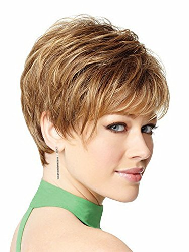 AmorWig Sexy Boycusts Short Light Brown Straight Hair Wigs for Women + Wig Cap