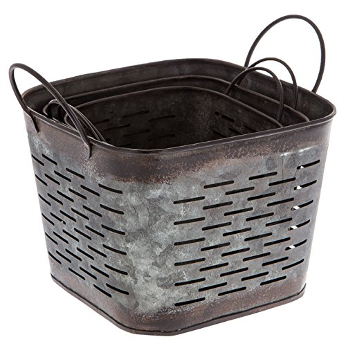 Dark Galvanized Metal Square Olive Buckets, Set of 3