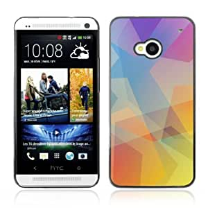 Designer Depo Hard Protection Case for HTC One M7 / Cool Polygon Pastel Tones