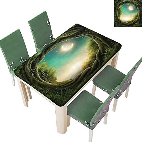 (Printsonne Polyester Tablecloth Table Cover Trees in Enchanted Forest Full Moon Artistic Artwork Girls Boys and Family Teal for Dining Room 50 x 102 Inch (Elastic Edge))