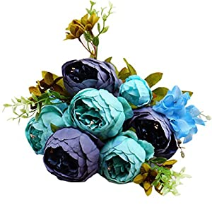 SUJING13 Heads Peony Fake Flowers Vintage Artificial Peony Silk Flowers Bouquet Home Wedding Decoration (G) 34