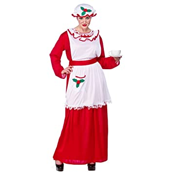 Mrs Santa Claus Costume For Father Christmas Fancy Dress Plus Size
