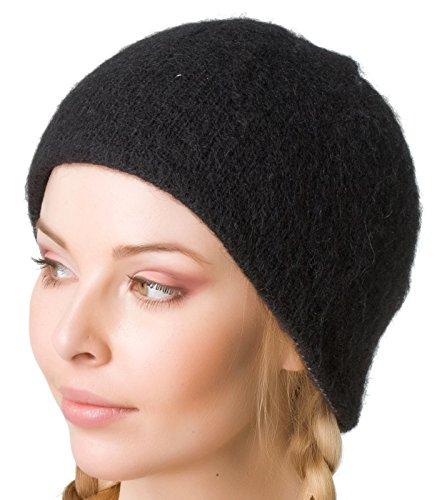 Freyja Canada Winter Wool Black Hat Beanie Cap 100% Icelandic Wool Women Men 2 Ply Knitted Extra Warm ()