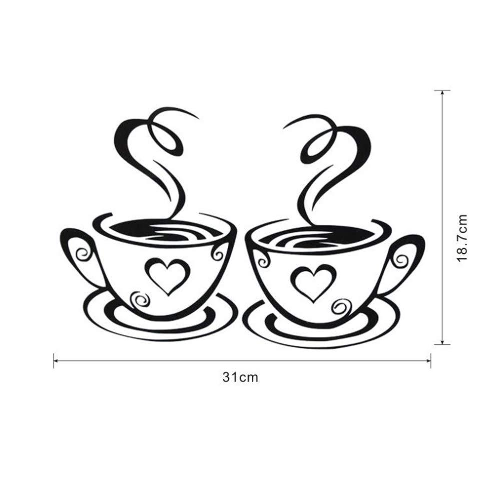 Newin Star DIY Dos tazas de caf/é creativa de la pared del vinilo de papel de pared de arte etiqueta de la pared removible para dormitorios habitaci/ón de los ni/ños sala de estar