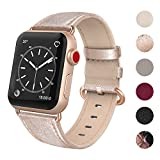 SWEES Compatible Apple Watch Band 38mm, Genuine Leather Elegant Dressy Strap Compatible iWatch Apple Watch Series 3 Series 2 Series 1 Sport Edition Women, Gold