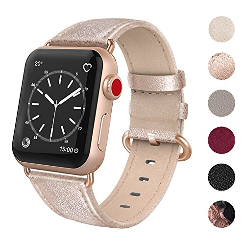 SWEES for Apple Watch Band 38mm Leather, iWatch Soft Genuine Leather Elegant Dressy Replacement Strap with Stainless Clasp for Apple Watch Series 3, Series 2, Series 1, Sports & Edition Women, Gold by SWEES