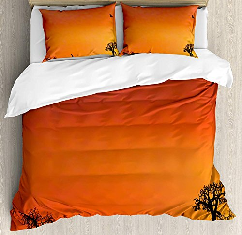 Africa Bet Set 4pcs Bedding Sets Duvet Cover Flat Sheet No Comforter with Decorative Pillow Cases Twin Size for Kid Teens-Panorama of Safari Animals Gulls Reflections in Background at Sunset Scenery by Z&L Home