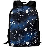 SDEYR79 Solar System Moon Sun Stars Canvas Laptop Backpack Cute School College Shoulder Bag for Women Men