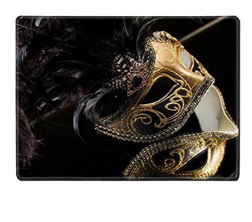 [Luxlady Natural Rubber Placemat IMAGE ID: 27379002 Gold traditional venetian carnival mask Venice Italy] (Venice Carnival Costumes Patterns)