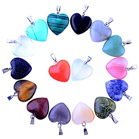 20pcs Small Love Heart Pendants 0.63inch Charms Crystal Heading Chakra Stone Pendants for Necklace Earring Jewelry (Amethyst Stone Set)