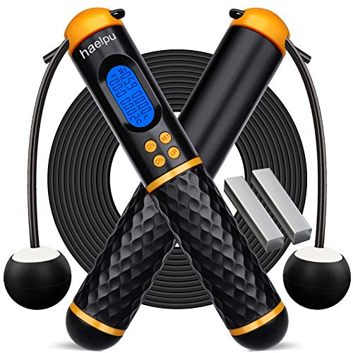 Jump Ropes with Counter Adjustable Digital Counter Weighted Speed Skipping Rope with Weight Calorie Timer Circles for…