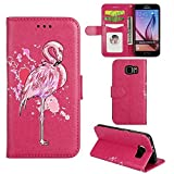 Samsung Galaxy S6 Edge Case, Ailisi [Pink Flamingo] Leather Wallet Flip Phone Case Magnetic Cover with TPU Inner, Shock-Absorption Protective Case with Card Slots, Stand Function (Hot Pink)