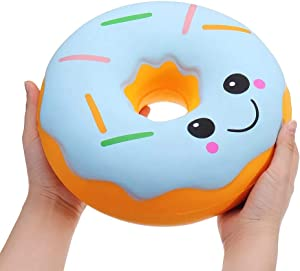 Ganjiang 10 Inches Giant Donut Squishy Toys Jumbo Squishies Soft and Slow Rising Great Gift