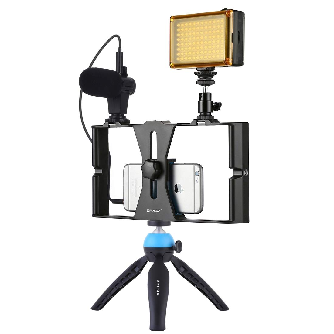 4 in 1 Vlogging Live Broadcast LED Selfie Light Smartphone Video Rig Kits with Microphone + Tripod Mount + Cold Shoe Tripod Head for iPhone, Galaxy, Huawei, Xiaomi, HTC, LG, Google, and Other Smartpho by CAOMING