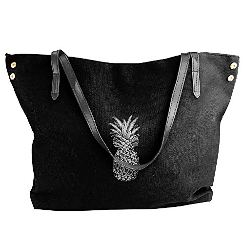 Women Tote Bags Fashion SKULL PINEAPPLE Capacity Large Bags Hobo Handbags Handbags Shoulder Black Canvas Black 15aq5Y