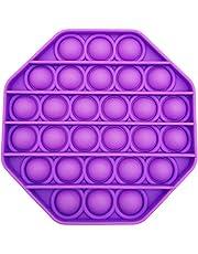 Silicone Bubble Fidget Toy Pop it Fidget Toy Push Pop Pop Bubble Sensory Fidget Toy Stress Reliever (Round Purple) (Hexagon Purple)