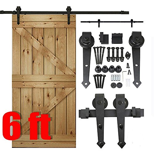 Yaheetech 6 FT Modern Black Steel Interior Sliding Barn Wood Door Cloest Hardware Track Kit Set (Dutch Door Kit compare prices)