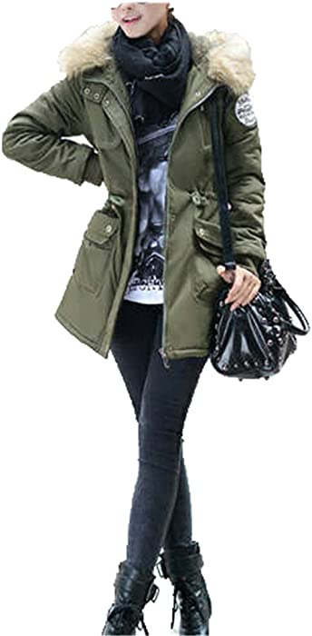 LR New New Women Winter Coat Wadded Jacket Medium-Long Plus Size 4XL Parka Fur Collar Thickening Hood Abrigos Female Snow Wear Army Green XL