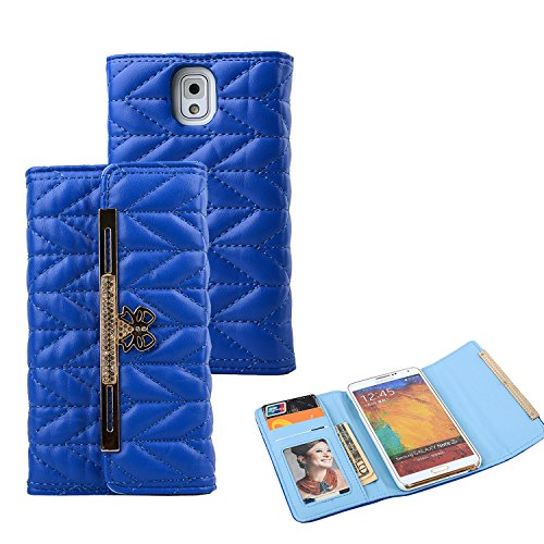 Note 3 Case, Galaxy Note 3 Case - VAMVAZ Fashion Cute Blue Bow Diamond Pattern Design PU Leather Wallet Flip Fold Full Body Protector Case Cover Skin For Samsung Galaxy Note 3 N9000