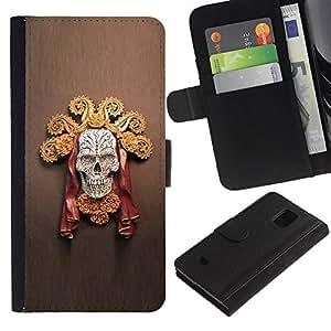Paccase / Billetera de Cuero Caso del tirón Titular de la tarjeta Carcasa Funda para - Gold Chief Sun Skull Death Red Brown - Samsung Galaxy S5 Mini, SM-G800, NOT S5 REGULAR!