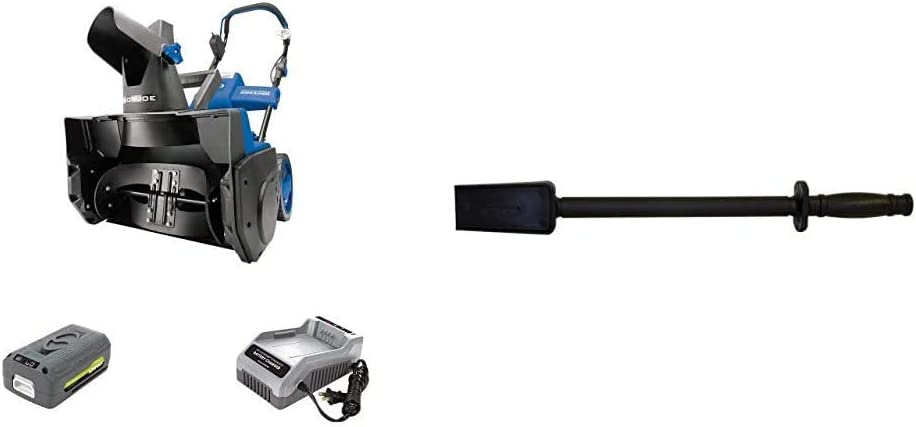 """Snow Joe ION18SB 18-Inch 40 Volt Cordless Single Stage Brushless Snow Blower, 7"""" x 1.5"""" & SJCOT Universal Snow Thrower Clean Out Tool"""