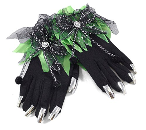 Spooky Witch Spider Gloves with Nails Green Halloween Costume Accessory