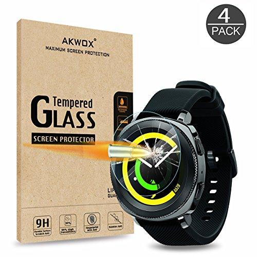 [4 Pack] Samsung Gear Sport Screen Protector, Akwox [0.33mm 2.5D] Tempered Glass Screen Protector for Gear Sport