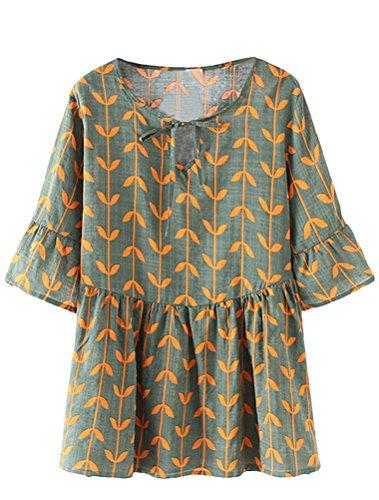 Minibee Women's Summer Print Ruffle Blouse Casual Loose V-Neck Tie Tops Shirt Green XL - Cotton V-neck Blouse