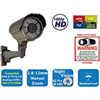 Evertech Full HD 1080P 2.1MP Bullet Outdoor Security Camera with IR LED Night Vision Indoor Outdoor Waterproof Manual Zoom 4 in 1 AHD TVI CVI and Traditional Analog DVRs w/ Free CCTV Warning Sign