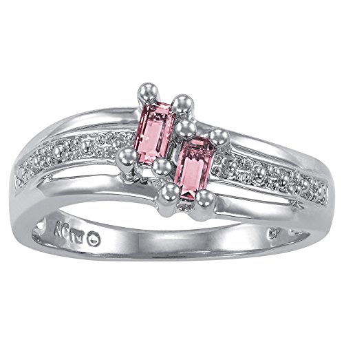 ArtCarved Love Moments Simulated Rose Zircon October Birthstone Ring, Sterling Silver, Size 9 by ArtCarved (Image #1)'