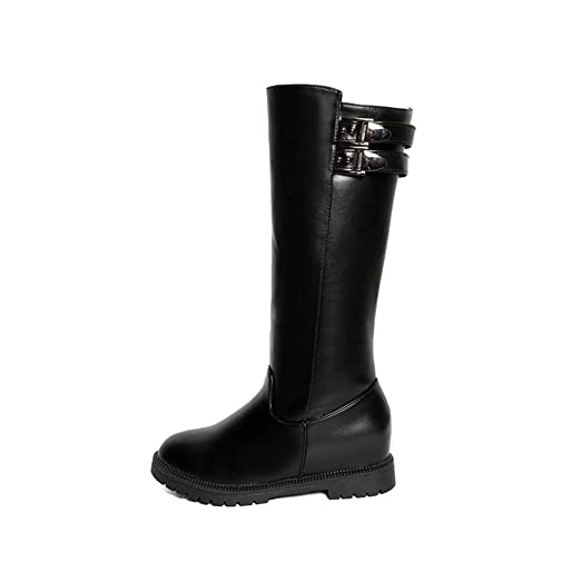 Women's Increased wiht High Mid Calf Flat Knee High Motorcycle Riding Boots